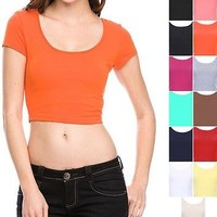 Cotton Scoop Neck Short Sleeve Cute Sexy Crop Top  S M L