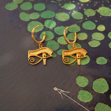 Eye Of Horus Hoop Earrings