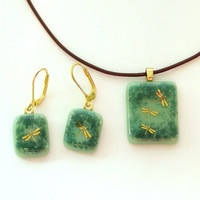Dragonfly Fused Glass Pendant Necklace and Earring Set Teal Green with Gold Dragonfly