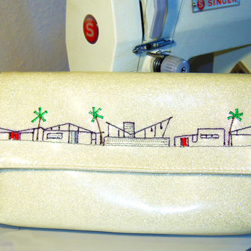 Wristlet- with Mid-Century Houses