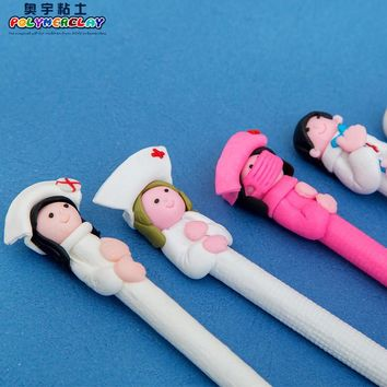 6pcs/lot Cute Creative stationery wholesale cute doctor nurse polymer caly ball pen Character ballpoint pen