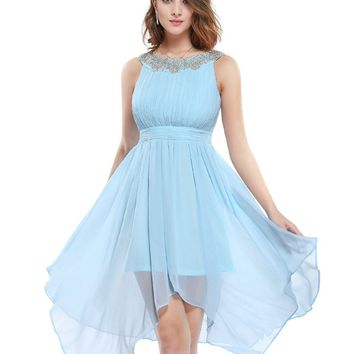 Homecoming Dresses 5002 Women New Arrival 2017 Fashion Round Neck White Ever Pretty Hi-low Short Cheap Sexy Cocktail Dress