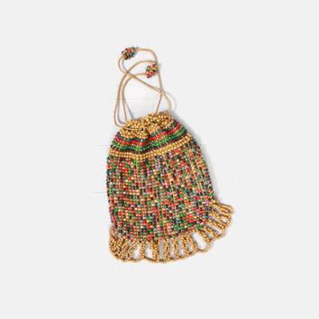 Vintage 40s HANDBAG / 1940s Wooden Beaded Drawstring Pouch Purse