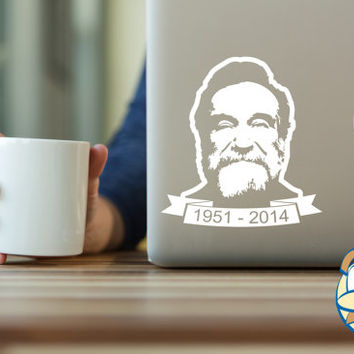 Robin Williams memorial sticker 1951-2014 vinyl decal white vinyl sticker laptop car decal stickers by Autonomy Graphics