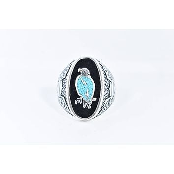 Vintage 1980's Native American Style Southwestern Real Turquoise Stone inlay Men's Hawk Ring