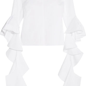 Ellery - Delores ruffled off-the-shoulder cotton-poplin top