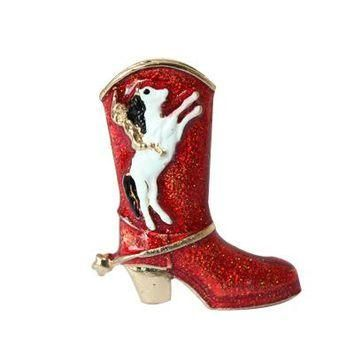 Gold-Color Christmas Red Boots shoes and dog Christmas Brooch Rhinestone Christmas Bro