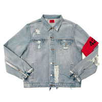 Distressed Denim Jacket w/ Arm Band - Light Indigo