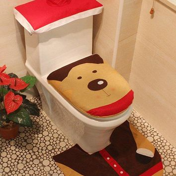 3PCS Christmas Decoration Bathroom Deer Pattern Toilet Seat Cover Set