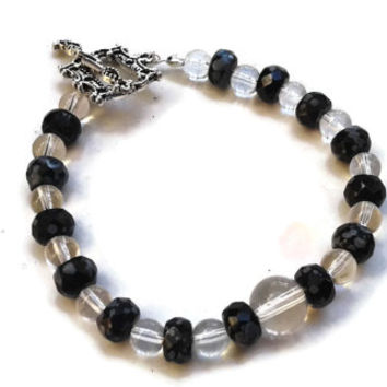 """Snowflake Obsidian Bracelet with Clear Glass Beads and Toggle Clasp - 7.5"""" - BRC097"""