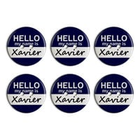 Xavier Hello My Name Is Plastic Resin Button Set of 6
