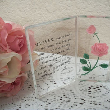 Mother's Day Poem Acrylic Picture Pink Rose I Love You Mom Keepsake GIft Vintage Home Decor
