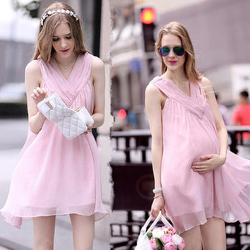 Chiffon Sleeveless Loose V-neck Short Maternity Dress