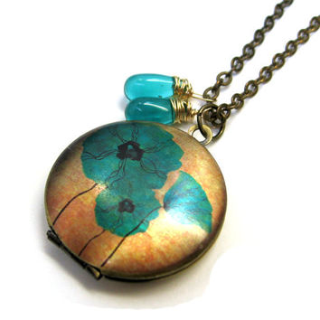 Teal Blue Flower Handpainted Brass Locket with Czech Glass Drops 14K Gold Wire
