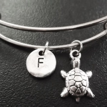 Sale......3D small sea turtle Stainless Steel Expandable Bangle, monogram personalized item No.787