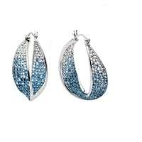 Sterling Silver Faded with Swarovski Elements Wave Hoop Earrings