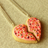best friends sugar cookie half heart best friend necklaces bff