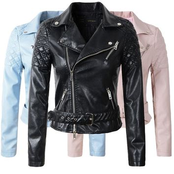 Women's Jackets Leather PU Coat with Belt