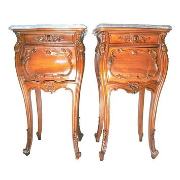 Pre-owned Antique French Rococo Walnut Nightstands - A Pair