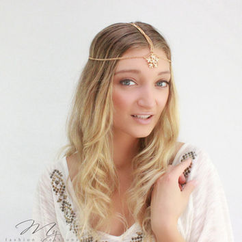 SALE: Gold Floral Head Chain, Adjustable, Gypsy, Head dress, Goddess head piece, Wedding Head piece, Myfashioncreations, Headchain, Bohemian