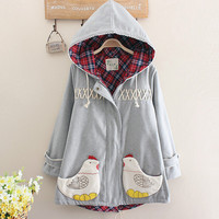 Cute chicken lace hooded coat jacket