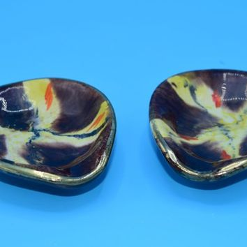 German Spoon Rest Set of 2 Vintage Made in Germany Pair Spoon Rests Brown Yellow Ceramic Pottery Tray Trinket Dish Jewelry Holder