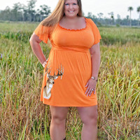 Womens plus size orange sporty girl apparel deer head dress