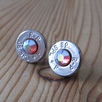 38 Special Bullet Earrings with Swarovski Rainbow Padparadscha AB Crystal Accents - Small Thin Cut - Classic - Dainty Bullets