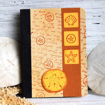 Sanddollar and Sea Shells Mini Journal, Handmade Pocket Notebook, Altered Composition Book, Vacation Planner, Personal Diary, Beach Journal