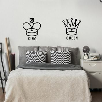 Cool King and Queen Lover Couple Wall Decal Crown Pattern Art Mural Wall Sticker for Bedroom Living Room DecorationAT_93_12