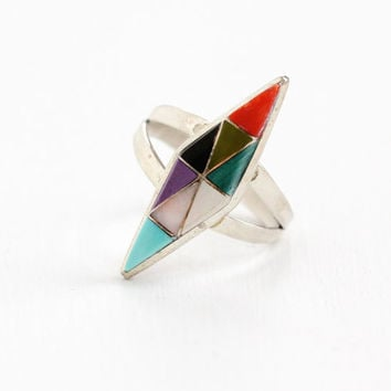 Vintage Sterling Silver Zuni Multi Stone Ring - Retro 1960s Tribal Inlay Colorful Gem Native American Jewelry