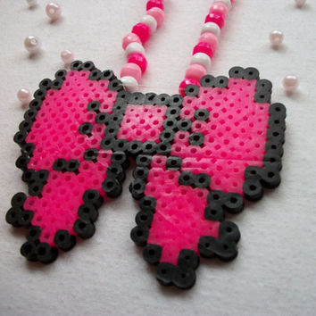 Cute Pink Kandi Necklace with Perler Bead Bow