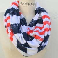 Infinity Scarf Women Scarves Red White Blue Scarf Stripe Scarf By- PIYOYO