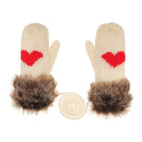 Cream Colored Faux Fur Love Mitten Gloves