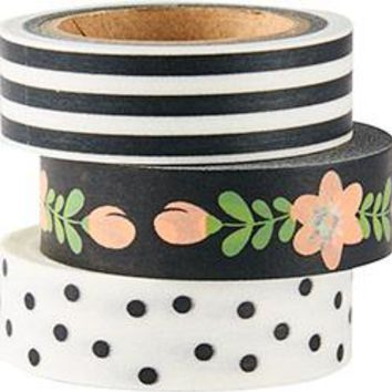 Black And White Washi Tape Set of 3