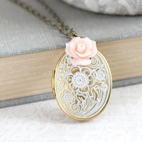 Locket Necklace Shabby White Patina Pink Rose Charm Photo Locket Country Chic Romantic Bridesmaids Gift for Mom Keepsake Jewelry Nickel Free