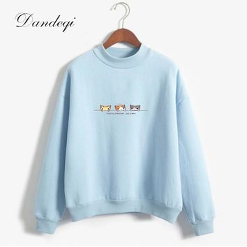 Women Candy Color Long Sleeve Casual Thicken Sweatshirts