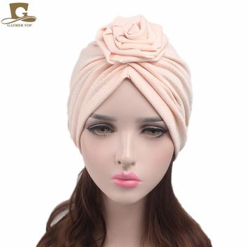 New fashion Women's Elegant rose flower turban beanie chemo cap Ladies Bandanas Head wrap Woman Hat Turbante Hair Accessories