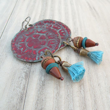 Gypsy Mandala Earrings, Tassels, Tibetan Prayer Beads, Maroon, Blue, Large, Lightweight, Vintage Tin
