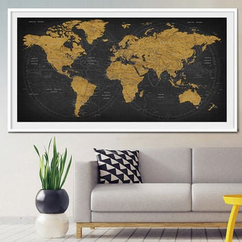 Push pin world travel map, Push pin travel map, World map, World Travel, Adventure Travel, Vacation Art, Family Travel Map, Travel gift (L7)