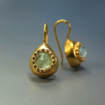 Aquamarine Earrings, Gold Earrings, Teardrop Earrings, March Birthstone, Aquamarine Jewelry, Everyday Jewelry, Dangle Earring, Unique Gifts