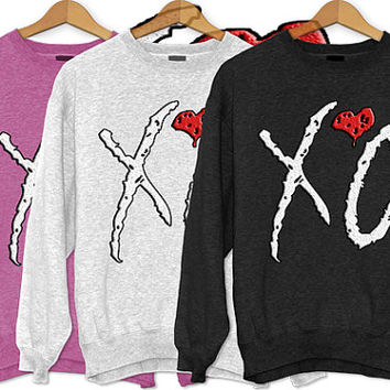 Xo weeknd logo Black/Pink/White Unisex adults Sweaters