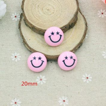 CREYHY3 15pcs/lot  mix colors resin smiling face  in solid color  for kids hair phonecase DIY resin cabochons accessories