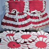 Hand Crochet Dress Pot Holders Potholders Mid Century 1950s 50s Vintage Kitchen Country Farm Farmhouse Cottage Home Decor Red and White Set