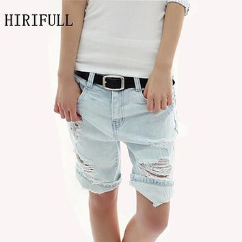 Women Loose Jeans Shorts New Riding Hollow Breeches Dog Pattern Hole Vintage Trousers Cotton Denim Pocket Capris Pants Plus Size