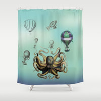 Octopus Shower Curtain - Everyone loves balloons - vintage style hot air balloons, illustration, steampunk, unique,  coastal decor, bathroom