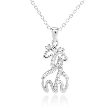 """925 Sterling Silver Tiny Twin Hugging Giraffe with Simulated White Cz Pendant Necklace 18"""" for Women"""
