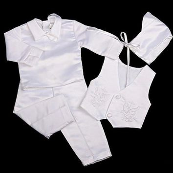 Formal baby boy clothing set wedding suit party baptism set for 0-2T baby body suits wear Vest + Shirt + Pants + Hat + Bow Tie