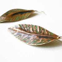 Copper Earrings - Summer Leaf Earrings - Mixed Metal Oxidized Jewelry - Handmade