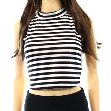 Soprano NEW Black White Size XS Junior Striped Cropped Tank Knit Top DEAL - Walmart.com